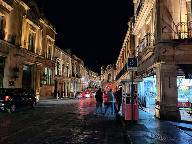 All the sidewalks in the historic center have LED lights to illuminate the beautiful architecture.