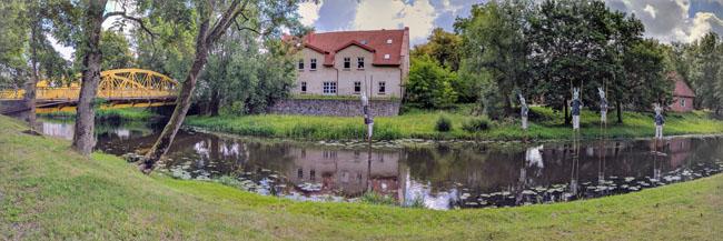 Rabbits on stilts in the Šyša River, Šilutė, formerly Prussian Heydekrug, near the hospital where my mom was born
