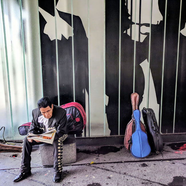 Mariachi waiting for business, Plaza Garibaldi, Mexico City