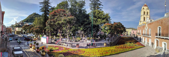 Floral carpet for Day of the Dead, Atlixco