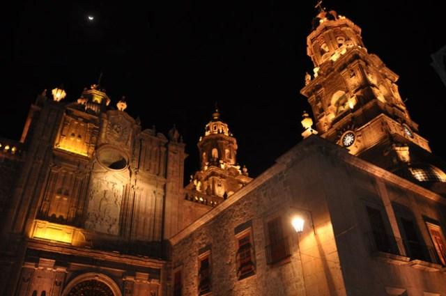 Morelia cathedral at night