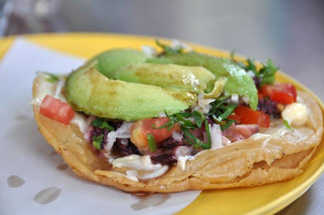 Incredible pulpo (octopus) tostada, Mexico City street food tour
