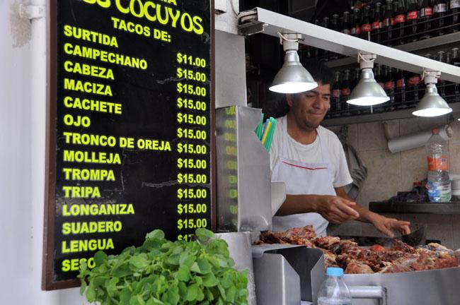 Los Cocuyos, famous suadero taco stand in the centro histórico, Mexico City