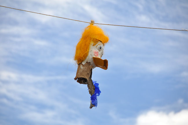 The head is all that remained of a Donald Trump effigy at the burning of Judas, San Miguel de Allende, Mexico