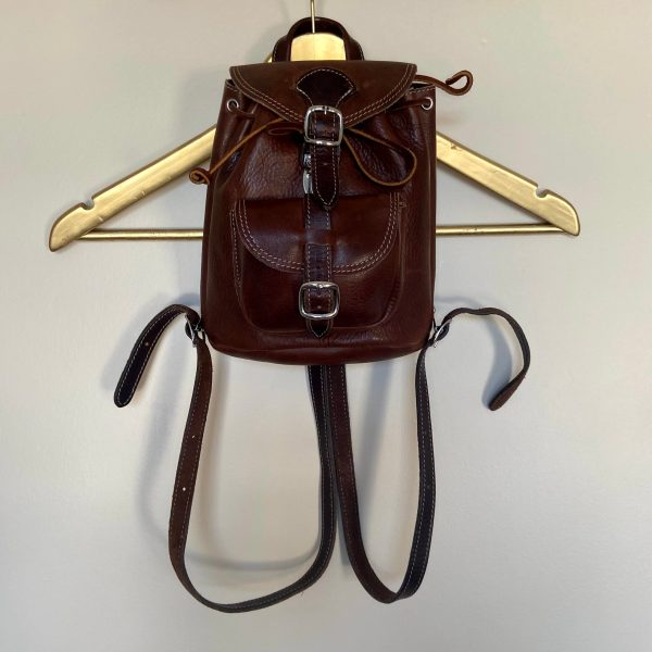 Roots mini leather backpack brown