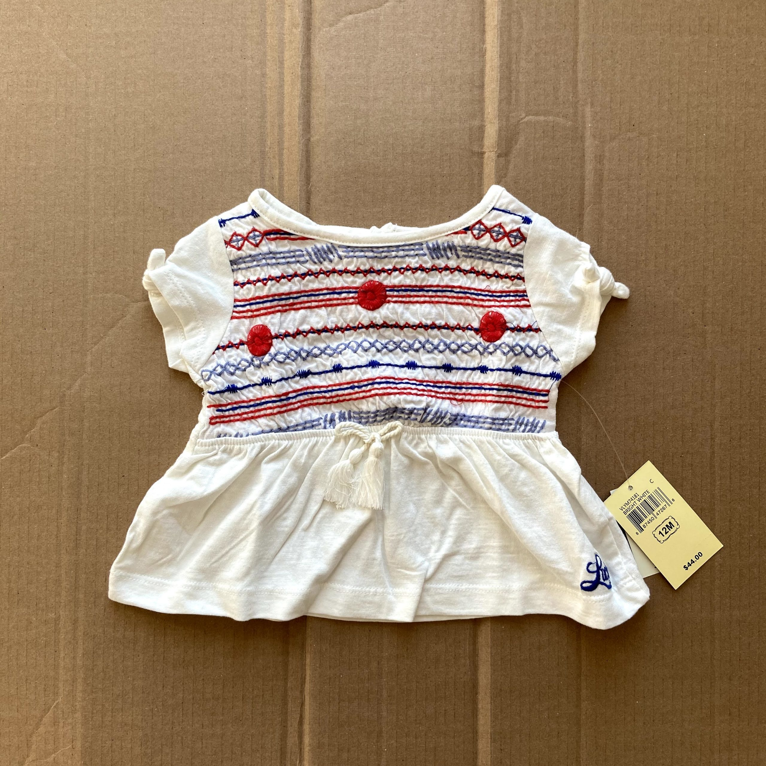 Lucky Brand peplum embroidered design top white red blue