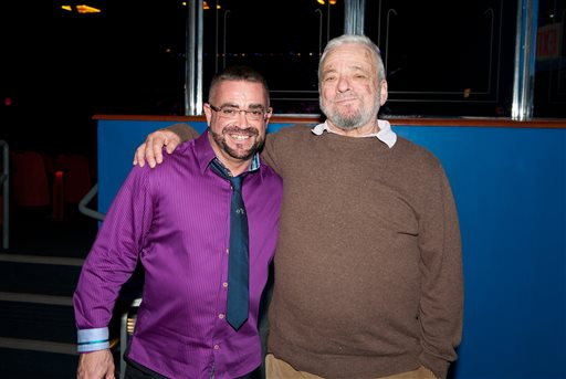 "In this 2013 image released by ECM Records, Anthony de Mare, left, and Stephen Sondheim pose in New York. Pianist Anthony de Mare and three dozen composers had put their own imprints on songs Sondheim wrote over the past half-century, a tribute to the man who redefined Broadway. ""Liaisons: Re-Imagining Sondheim From the Piano"" was released last month as a three-disc set by ECM. It features 37 original compositions by an All-Star team of composers. (Nan Melville/ECM Records via AP)"