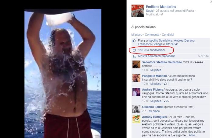 Mandarino in un Ice Bucket Challenge