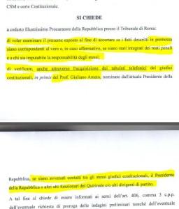 Tra le richieste dell'esposto l'acquisizione dei tabulati telefonici di Giuliano Amato