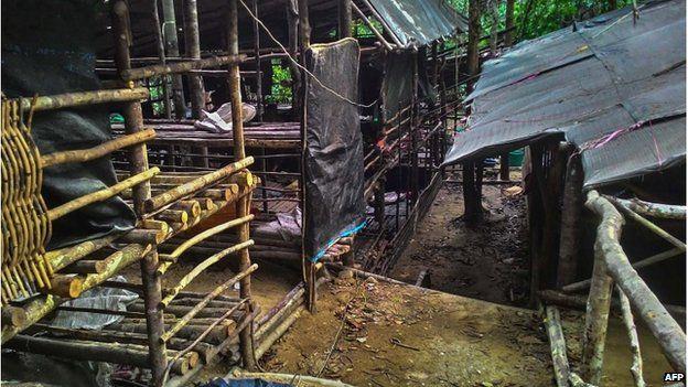Le gabbie col filo spinato dove venivano tenuti segregati i migranti nella giungla melese-thailandese