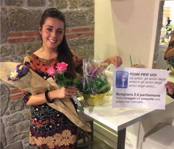 Laura Cioetto riceve fiori a Montagnana, Padova