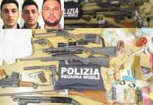 Le armi sequestrate nell'operazione Reset a Ragusa. Nei riquadri da sinistra Angelo Ventura, Jerry Ventura Marco Di Martino mafia vittoria stidda ragusa