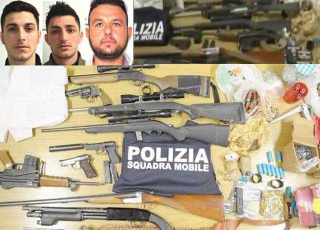 Le armi sequestrate nell'operazione Reset a Ragusa. Nei riquadri da sinistra Angelo Ventura, Jerry Ventura Marco Di Martino