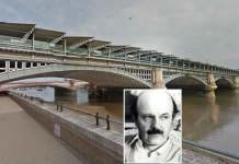 Il ponte dei Frati Neri a Londra dove è stato trovato ucciso Roberto Calvi, nel riquadro