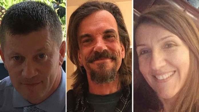 Le vittime dell'attentatore jihadista a Londra. Da sinistra l'agente Keith Palmer, Kurt Cochran e Aysha Frade