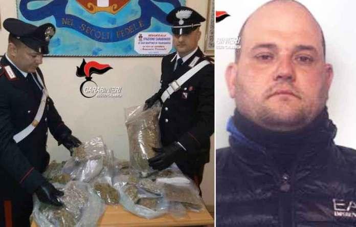 La droga sequestrata dai militari di Taurianova. A destra Giuseppe Graziano