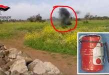 Il momento dell'esplosione della bomba a mano a Ghilarza