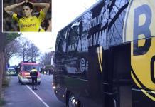 L'autobus danneggiato del Borussia Dortmund Nel riquadro il giocatore Marc Bartra