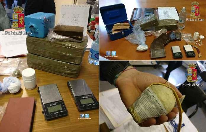 """La droga e la """"bombaccia"""" sequestrata al bidello a Roma"""