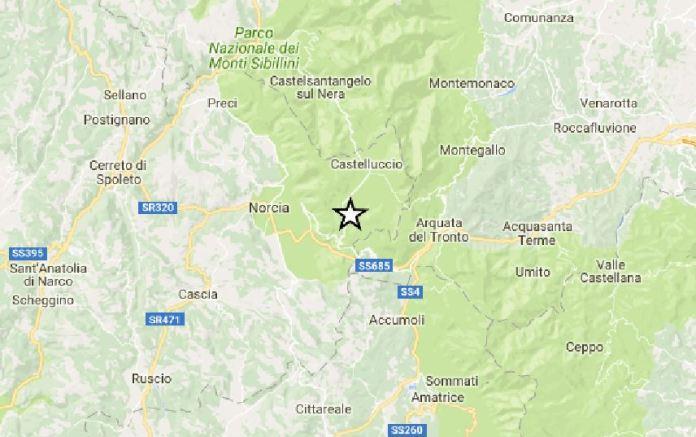 Scossa di magnitudo 3.3 tra Norcia, Accumoli e Arquata del Tronto