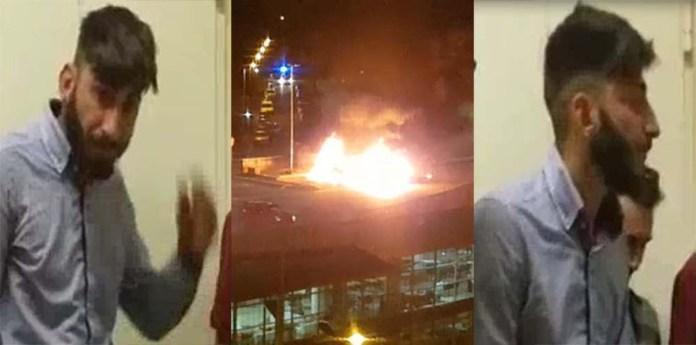 Serif Seferovic in due fotogrammi del video della Questura di Roma. Al centro il rogo del camper in cui morirono arse vive Elisabeth, Francesca e Angelica