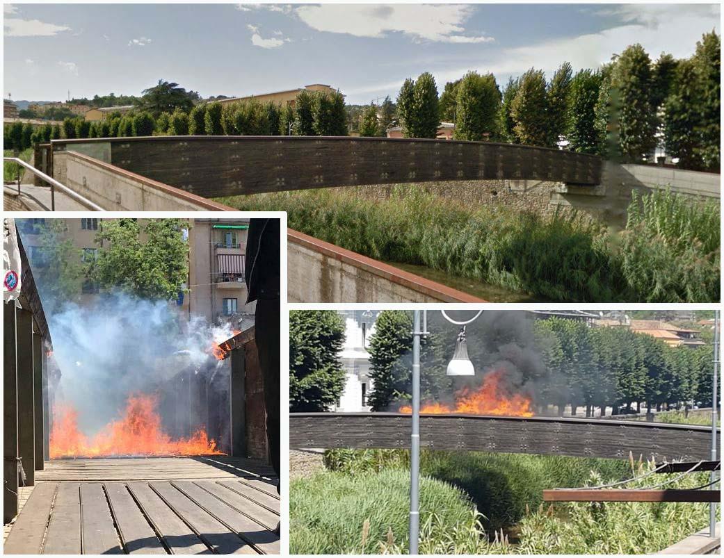 Cosenza in fiamme il ponte di legno sul busento occhiuto for Ponte del secondo piano