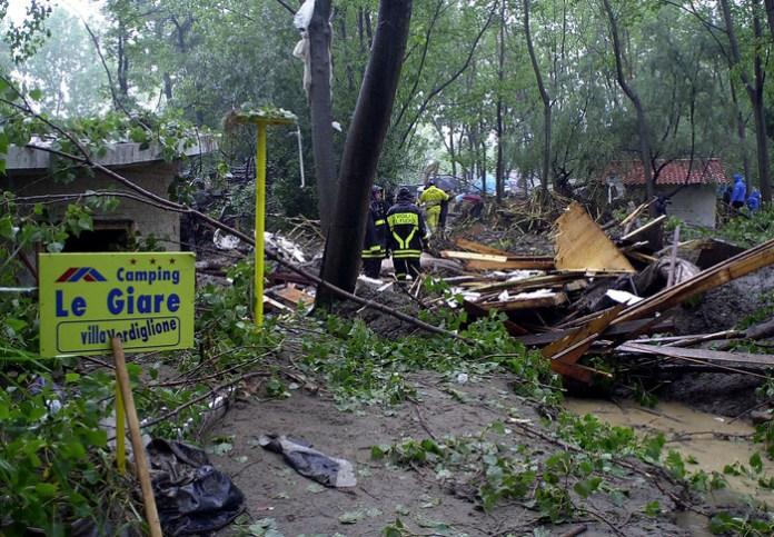 Il camping Le Giare devastato dalle acque del torrente Beltrano