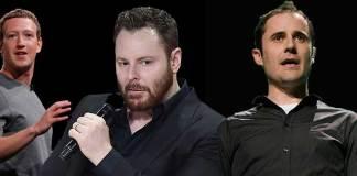 Da sinistra Zuckerberg, Parcker e Williams, rispettivamente fondatori di Facebook, Napstar e Twitter
