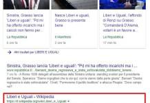Una ricerca di Liberi e uguali su Google mostra il testo originario della pagina poi cancellata su Wikipedia