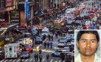 La Polizia sul luogo dell'attentato a New York. Nel riquadro Akayed Ullah
