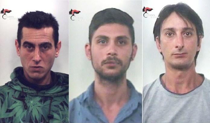 Da sinistra Georgi Dodnikov, Rosen Bonko Minchov e Dario Mendicino arrestati a Falerna