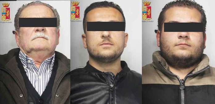Da sinistra gli arrestati Antonio, Santo e Antonino Flaviano