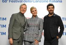 Da sinistra Claudio Baglioni, Michelle Hunziker e Pierfrancesco Favino in conferenza