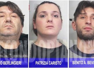 Da sinistra gli arrestati per l'omicidio di Maria Ficara: Massimo Berlingieri, Patrizia Caristo e Benito Alessandro Bevilacqua