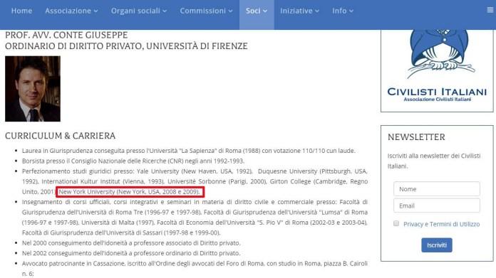 curriculum vitae Giuseppe Conte