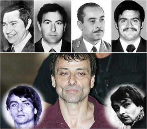 Quattro delle vittime di Cesare Battisti (in basso da giovane). In altro da sinistra, Pierluigi Torreggiani e Lino Sabbadin (uccisi il 16 febbraio 1979), Antonio Santoro (ucciso il 6 giugno 1978) e Andrea Campagna (19 aprile 1978).