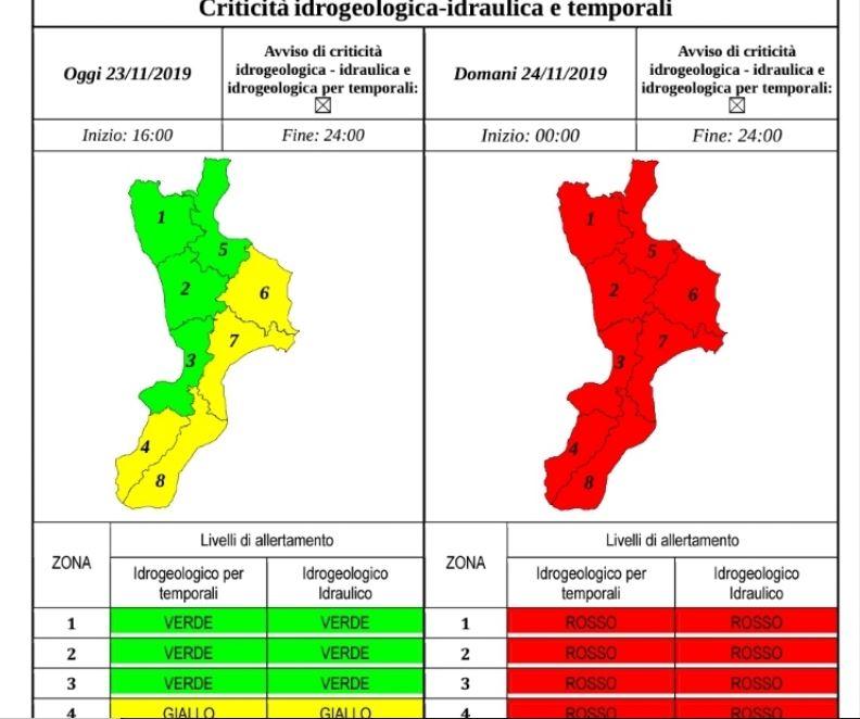 Maltempo, domani allerta rossa in Calabria. Previsti peggioramenti al Nord