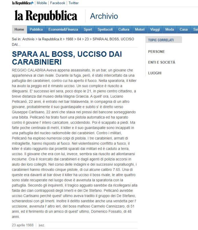 L'articolo di Repubblica dell'88 sull'omicidio Cartisano quando i carabinieri uccisero uno dei killer, Luciano Pellicanò
