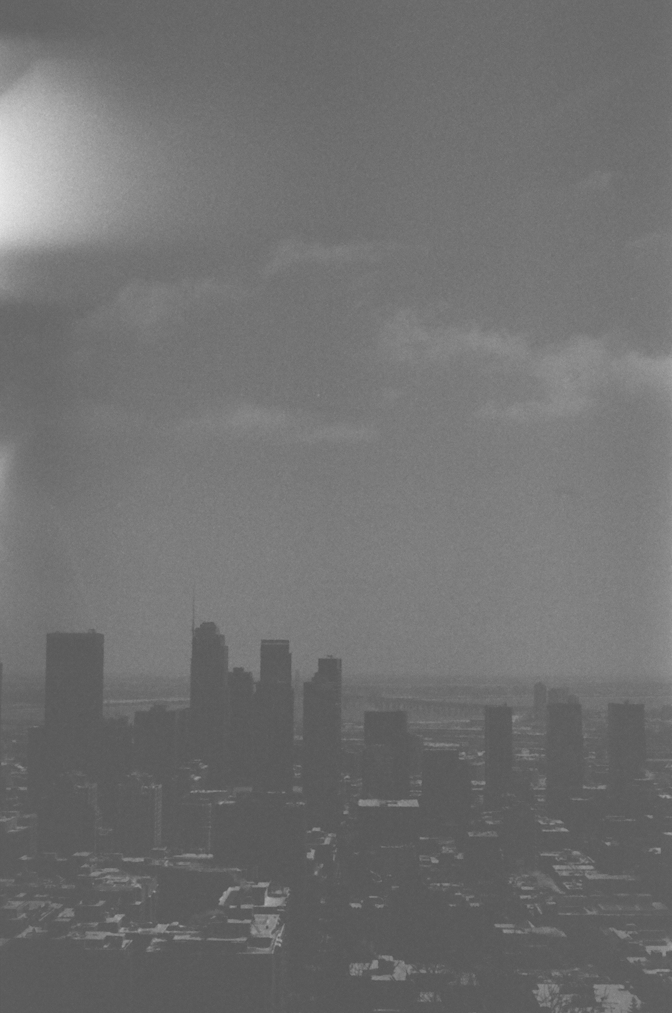MONTREAL SKYLINE BLACK AND WHIT FILM PHOTOGRAPH