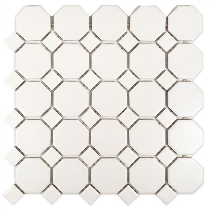sausalito white octagon mosaic ceramic wall tile 12 x 12