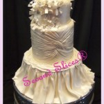 3 tiers white wedding cake inspired on the bride's gown from Second Slices® vegan eggless cake shop n bakery in Edmonton