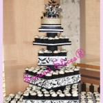 white black silver wedding cake n cupcakes in a customized cupcake tower, gluten free n dairy free from Second Slices® Cakery cake shop n bakery in Edmonton AB