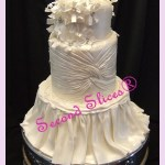 bride gown wedding white round cake covered in fondant gluten free from Second Slices® cake shop bakery in Edmonton AB