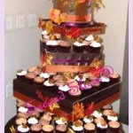 brown-orange-white cake n cupcakes for fall theme weddingwith pumpkin and cinnamon flavors from Second Slices® cakeshop n bakery in Edmonton AB