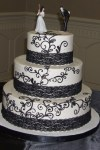 black and white wedding cake with black scrolls and black lace from Second Slices® bakery in Edmonton AB