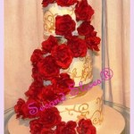 red roses white wedding round cake with gold scrolls detail from Second Slices® Cakery in Edmonton AB - cake shop, bakery
