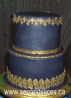 Charcoal Gold Purple Blue Orchids Wedding Cakes Cupcakes Edmonton