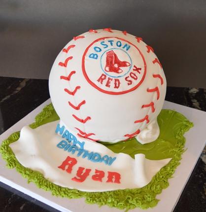 Amazing Baseball Redsox Boston Ball Birthday Cake Shop Bakery Edmonton Birthday Cards Printable Nowaargucafe Filternl
