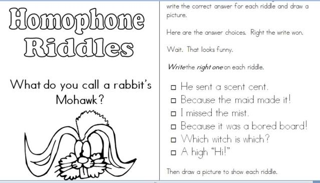 Homophone Riddles Joke Book Freebie at Second Story Window