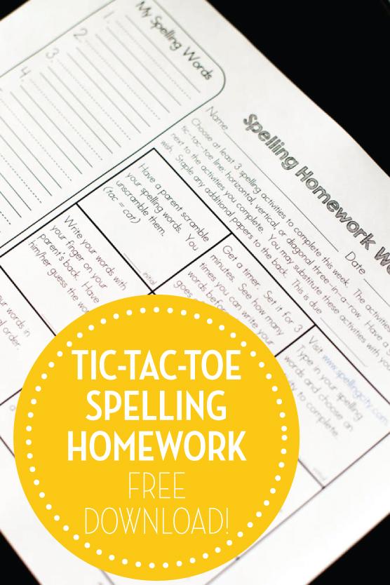 Tic tac toe spelling homework freebie second story window for Tic tac toe homework template